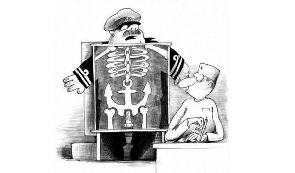 карикатура матрос и рентген