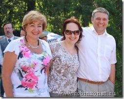 Ирина Петеляева, Наталья Союнен, Александр Чаженгин в гуще празднества